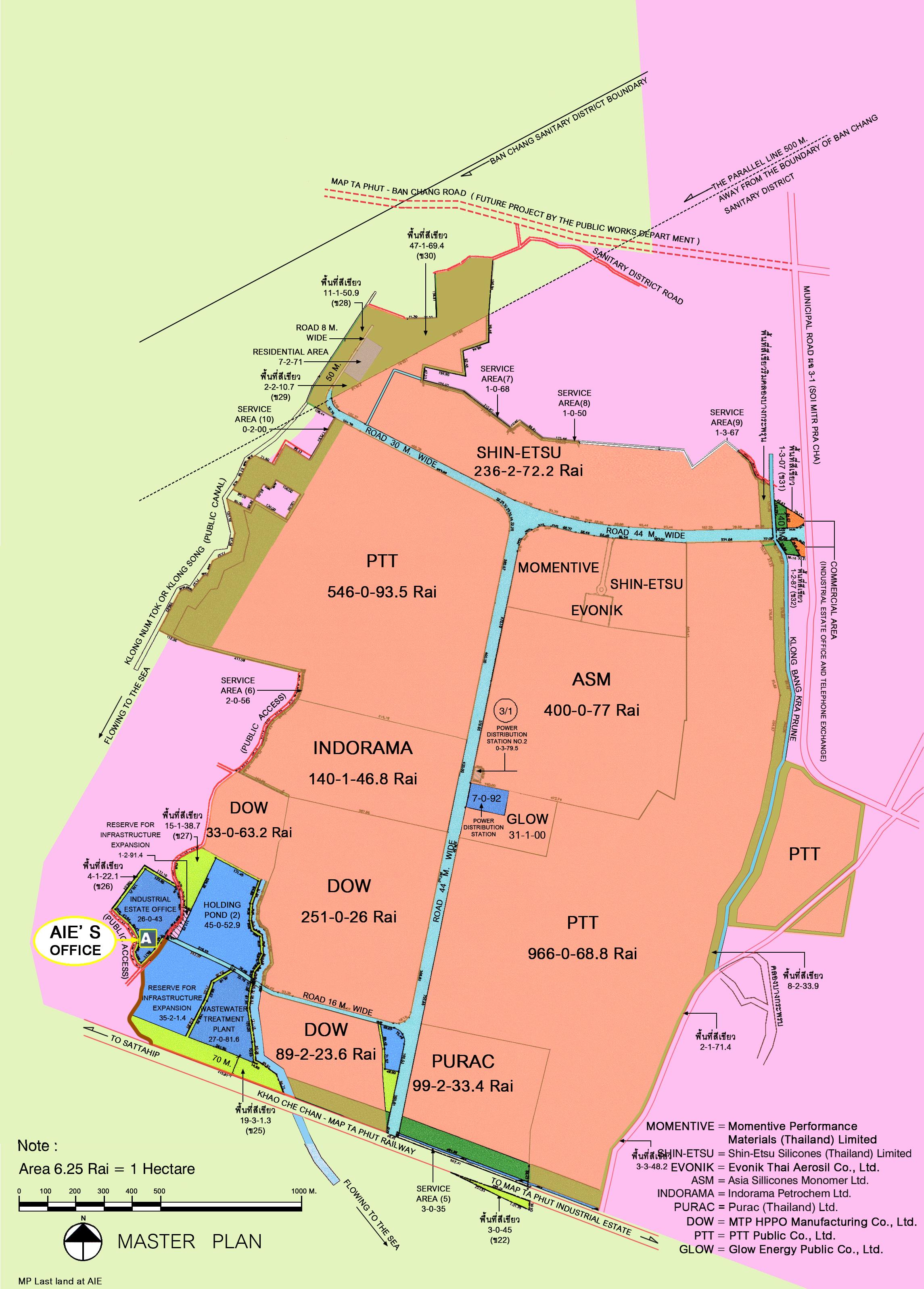 Asia Industrial Estate Map Ta Phut AIEMTP AIEWebsite